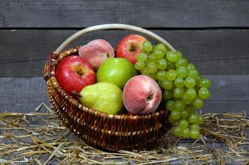 fresh, tasty, juicy, useful fruit in a basket, useful fruit in a basket.A LOT OF FRUITS. AWAY WITH APPLES. FRUITS