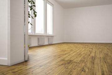 Leere Wohnung mit großer Fensterfläche und hellem Laminat
