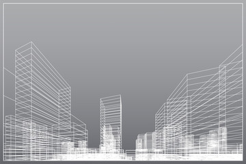 Fototapete - Abstract wireframe city background. Perspective 3D render of building wireframe. Vector.
