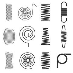 Springs for technical design.  Set of vector sketches.