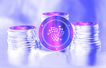 Iota (IOT) digital crypto currency. Stack of coins. Cyber money.