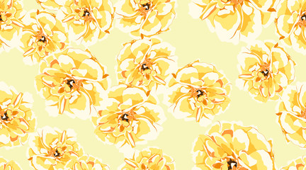 Pastel Floral Seamless Pattern, Roses, Peony.