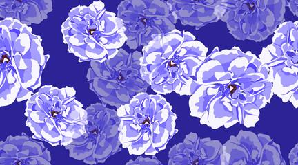 Blue Roses Seamless Elegant Pattern.