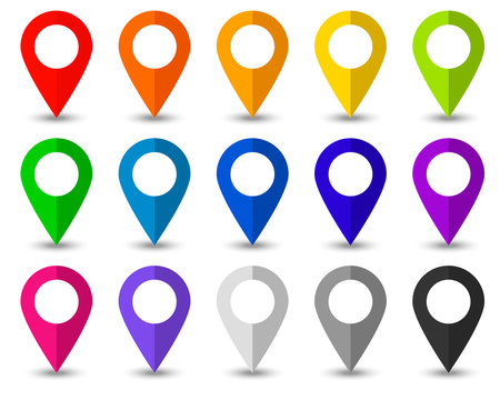 Set of map pointers icons with soft shadow in flat style.