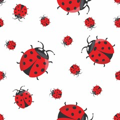 Vector illustration of ladybug seamless pattern