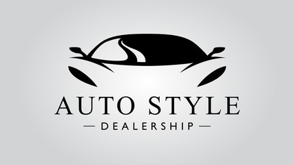 Super car logo design with concept sports vehicle icon silhouette