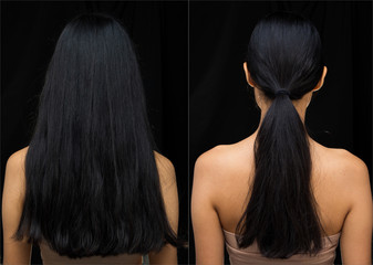 Asian Woman before after applying make up hair style. no retouch, fresh face with acne, nice smooth skin. Studio lighting dark background, for aesthetics therapy treatment, back side view