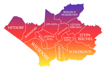 Leverkusen City Map Germany DE labelled rainbow colored illustration