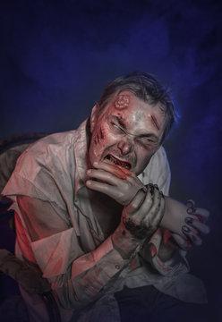 Horror terrible zombie man eating hand. Halloween scene