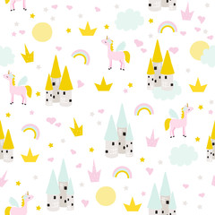 Seamless pattern with unicorn and princess castle. Cute kids print. Vector hand drawn illustration.