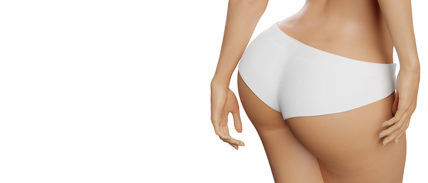 Beautiful slim and curvy body in white panties