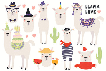 Printed kitchen splashbacks Illustrations Set of cute funny llamas, pirate, summer, witch, unicorn, birthday, hipster. Isolated objects on white background. Hand drawn vector illustration. Scandinavian style flat design. Concept kids print.