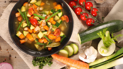 Wall Mural - vegetable and broth, minestrone