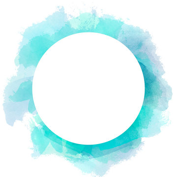 Abstract watercolor circle background in blue and green color. Brush stroke illustration with circle white copy space