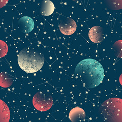 Abstract  seamless pattern. Space constellations