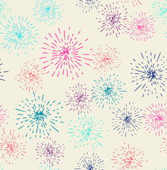 Vector seamless pattern with fireworks
