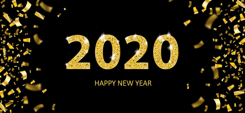 2020 New Year Golden Confetti Black Header