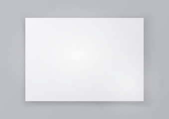 Wall Murals Dark grey Blank sheet of white paper isolated on a gray background. Vector illustration.