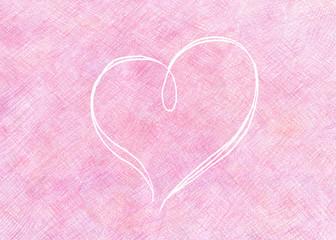 ピンクの色鉛筆のスクラッチ模様と線で描かれたハート