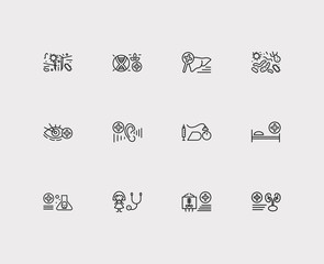Medical sciences icons set. Anesthesiology and medical sciences icons with ophthalmology, nephrology and hepatology. Set of chemistry for web app logo UI design.