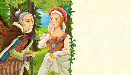 cartoon scene with older woman and princess in the forest - with space for text - illustration for children
