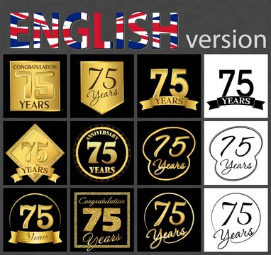 Set of number 75 templates