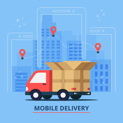 Delivery vector illustration. Delivery service and cardboard boxes on city background. Delivery 24 hour concept. vector illustration