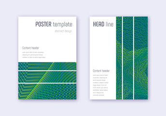 Geometric cover design template set. Green abstrac