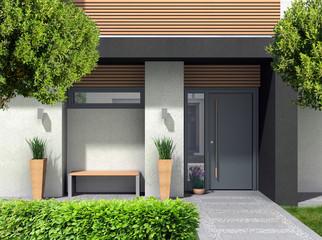 3D rendering und composite Bild eines modernen Hauseingangs für ein Einfamilienhaus mit Vorgarten