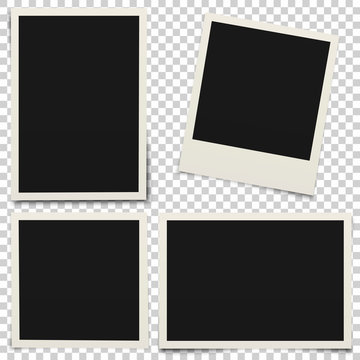 Empty photo frames with shadow isolated on transparent background.