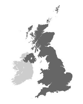United Kingdom of Great Britain and Northern Ireland contour map. Vector illustration.