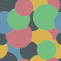 Large colored circles with small dots in circles.  Seamless vector pattern.
