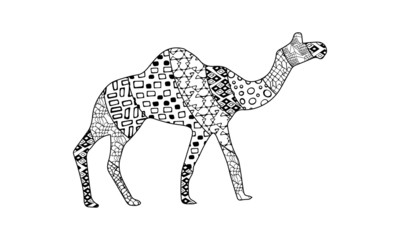 Vector black and white silhouette of moving camel side view with geometric ornaments isolated on white background. Round, triangle, rectangle, line, mesh, square patterns. Zen art illustration hand