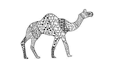 Black and white silhouette of moving camel side view with geometric ornaments isolated on white background. Round, triangle, rectangle, line, mesh, square patterns. Zen art illustration hand