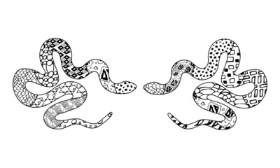 Two hand drawn doodle outline python decorated with geometric ornaments. Black and white silhouette of snake with different patterns. Vector zen art illustration