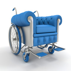 Blue Leather club wheelchair