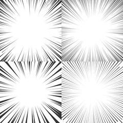 Radial speed lines for comics, manga, pop art.  Set of vector illustrations.