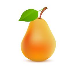 Single whole orange Pear color on white background - Vector realistic illustration of tasty juicy fruit.