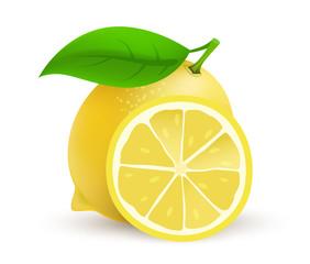 Whole single Lemon fruit - realistic vector icon illustration isolated on white background.