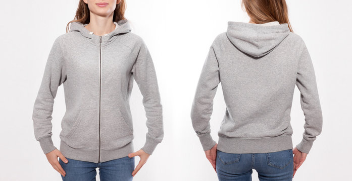 Shirt design and fashion concept - young woman in gray sweatshirt front and rear, gray hoodies, blank isolated on white background. mock up