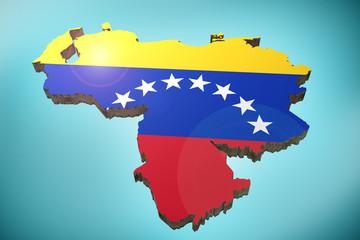 Venezuela map and flag