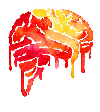 Red and yellow brain with paint smudges