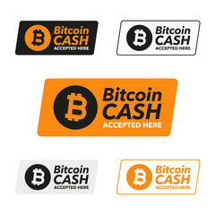 Bitcoin Cash Symbol label of cryptocurrency. Accepted here. Blockchain finance symbol.