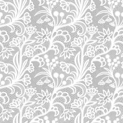 White vintage Lace seamless pattern with flowers
