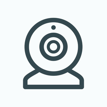 Webcam outline icon, web camera for video chat vector icon