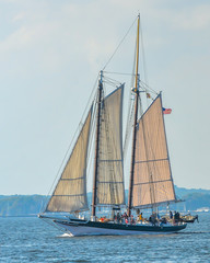 Sails, rigging, masts and sailboats on the water