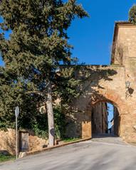 The Porta al Ciglio and the ancient city walls of Pienza, Siena, Tuscany, Italy