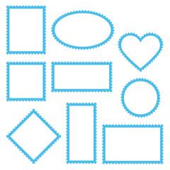 10 Blank Stamps Blue Frame