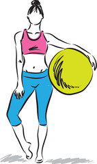 woman fitness with yoga ball illustration