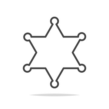 Sheriff star line icon vector isolated